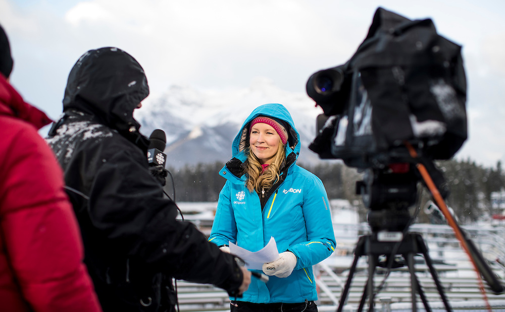 CBC crew members prepare for the women's downhill at the Alpine Skiing FIS World Cup in Lake Louise, Canada on Dec 3, 2016.