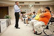 Former Minnesota Gov. Tim Pawlenty, a GOP presidential candidate, speaks at a town hall meeting at the Iowa Farm Bureau in Des Moines, Iowa, July 20, 2011.