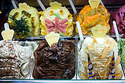 Gelato ice cream shop selling chocolate, melon, pineapple, flavours and frozen yoghurt in Siena, Italy. RESERVED USE - NOT FOR DOWNLOAD - FOR USE CONTACT TIM GRAHAM