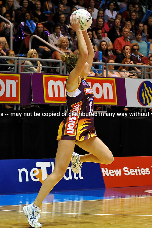 Elissa Mcleod takes a pass with the Firebirds on attack during action from the Major Semi Final of the ANZ Netball Championship played between the Firebirds and the Magic at the Gold Coast Convention and Exhibition Centre on Monday 9th May 2011