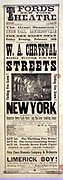 Title: Streets of New York thrilling fire scene. ca. 1879 (poster) : woodcut. 'The evening's entertainment will conclude with the roaring Irish farce, entitled: Limerick boy. 'Ford's New York Theatre, for one night only Friday evening, Feb. 14th.'J.R. Ford, proprietor; starring W.A. Chrystal. Theatrical production.