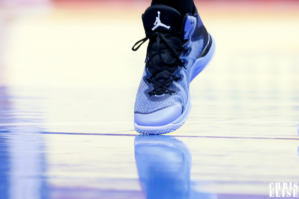 23 February 2015: Close view of Memphis Grizzlies forward Jeff Green (32) Jordan Brand sneakers as he warms up prior to the Memphis Grizzlies 90-87 victory over the Los Angeles Clippers, at the Staples Center, Los Angeles, California, USA.
