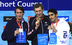 Fabien Gilot, 2nd place (FRA),  winner Amaury Leveaux (FRA) and Filippo Magnini, 3rd place (ITA)  at ceremony after Men's 100m Freestyle at 3rd day of LEN European Short Course Swimming Championships Rijeka 2008, on December 13, 2008,  in Kantrida pool, Rijeka, Croatia. (Photo by Vid Ponikvar / Sportida)