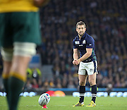 Scotland's captain Greig Laidlaw scoring a penalty to take the score aus 32 - scot 27 during the Rugby World Cup Quarter Final match between Australia and Scotland at Twickenham, Richmond, United Kingdom on 18 October 2015. Photo by Matthew Redman.