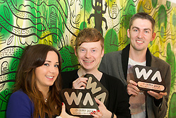 Repro Free: 02/11/2012.A Hat Trick for Kooba : Kooba Wins Three Awards at The Irish Web Awards including Best Web Agency of the Year?Ä®¬??Ä®Clodagh Mahoney, Head of Front End Development, Ed Kelly, Creative Director, and Emmet Dunne, Managing Director of Irish owned web design and development agency Kooba who¬?took home three awards at Thursday?Äôs Web Awards 2012 in Dublin?Äôs Mansion House : Web Agency of the Year, Best Responsive Website and Best Education and Third Level Website. Pic Andres Poveda?Ä®¬??Ä®Kooba was awarded Best Web Agency of the Year fighting off stiff ¬?competition from a shortlist of no fewer than twenty other web agencies.?Ä®Kooba?Äôs own website won the award for Best Responsive Design. Recent findings from Accenture?Äôs Mobile Web Watch 2012 reveal 77% of Irish internet users access the internet from mobile devices. Kooba has responded to this trend by redeveloping their own website and making it user friendly and accessible regardless of whether you access the internet from the latest smart phone, tablet or an old desk top pc.?Ä®Kooba?Äôs Creative Director, Ed Kelly said, ?Äú ¬?We?Äôre over the moon at having won all three awards, not least the award for Best Web Agency of the Year. 2012 has been an exciting year for everyone at Kooba..?Äù?Ä®Kooba won Best Education and Third Level website for their design and development of the National College of Art and Design (NCAD) website. ¬?Kooba worked closely with a team in NCAD to create a new website that is much more interactive for students, staff, alumni and prospective students.?Ä®¬??Ä®?Äú this is a great way to sign off 2012 and look forward to 2013. We moved premises to Dublin 1 earlier in the year, our team has grown in size to 5 and we?Äôre in the process of recruiting two more developers,?Äù said Ed.?Ä®¬??Ä®ENDS?Ä®¬??Ä®Contact Pauline N?? Luanaigh 086 8323 998.