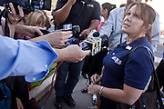 Nov. 9, 2009 -- PHOENIX, AZ: A Fry's worker who supports the UFCW Local 99's proposed strike talks to reporters in front of the union office in Phoenix, AZ, Monday. Members of the United Food and Commercial Workers Union (UFCW) Local 99, based in Phoenix, AZ, is expected to go on strike against Fry's and Safeway grocery stores in Arizona on Friday, Nov. 13. The key sticking point in negotiations, which have broken down, is health care. Currently union members get health coverage for free, the grocery chains want to charge $5.00 per month. The stores have started hiring non-union replacement workers In anticipation of the strike. Unemployment in Arizona is around 10 percent and many union members have now come out against a strike fearing they could lose their jobs.    Photo by Jack Kurtz