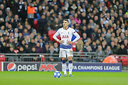 Tottenham Hotspur midfielder Erik Lamela (11) awaits the referees whistle to take a free kick during the Champions League group stage match between Tottenham Hotspur and Inter Milan at Wembley Stadium, London, England on 28 November 2018.