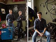 CLIENT: MADAME FIGARO <br /> <br /> French philosopher Cynthia Fleury and American philosopher Matthew Crawford in the motorcycle shop run by Matthew in Richmond, Virginia.