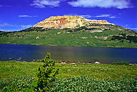 10,514 ft. Beartooth Butte and Beartooth Lake of the Beartooth Mountains and the Shoshone National Forest,  Wyoming.