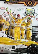Ryan Hunter-Reay (29) in victory lane after the IZOD IndyCar Iowa Corn Indy 250 auto race at the Iowa Speedway in Newton, Iowa on Saturday, June 23, 2012.