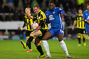 Peterborough United defender Tobi Adebayo-Rowling and Burton Albion forward Stuart Beavon challenge for the ball during The FA Cup match between Burton Albion and Peterborough United at the Pirelli Stadium, Burton upon Trent, England on 7 November 2015. Photo by Aaron Lupton.
