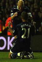 Photo: Tony Oudot.<br /> Tottenham Hotspur v Everton. The Barclays Premiership. 14/08/2007.<br /> Leon Osman of Everton celebrates his goal with Andy Johnson