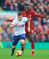 LIVERPOOL, ENGLAND - Saturday, February 9, 2019: AFC Bournemouth's Ryan Fraser and Liverpool's Naby Keita during the FA Premier League match between Liverpool FC and AFC Bournemouth at Anfield. (Pic by David Rawcliffe/Propaganda)