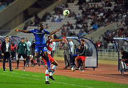 October 22, 2017 - Rades, Tunisia - Matthew Rusike (R)of CA and Siyabonga Nhlapho(15)  in action during the Semi-final return of the CAF Cup between Club Africain (CA) and Supersport United FC of South Africa at the stadium of Rades  in Tunis..Club Africain lost (1-3) against the South African Super Sport Utd who will face TP Mazembe in the final. (Credit Image: © Chokri Mahjoub via ZUMA Wire)