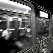 Chicago El Blue Line Trains at Night
