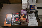 American Slaves, Inc., materials available during a poetry reading at the First Church of American Slaves at 314 Dr. W. J. Hodge Street, Thursday Aug. 25, 2011 in Louisville, Ky. (Photo by Brian Bohannon)