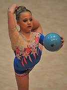 CAPE TOWN, SOUTH AFRICA - Friday 10 October 2014, Mikayla Levick of Gauteng doing her routine with the ball (rhythmic gymnastics) during the SA Gym Games (gymnastics) held at the Bellville Velodrome and Good Hope Centre.<br /> Photo by Roger Sedres