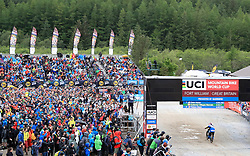 Marcelo Gutierrez Villegas crosses the finish line in front of the crowds during day two of the 2017 UCI Mountain Bike World Cup at Fort William. PRESS ASSOCIATION Photo. Picture date: Sunday June 4, 2017. Photo credit should read: Tim Goode/PA Wire. RESTRICTIONS: Editorial use only, no commercial use without prior permission