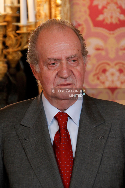 Spanish Royals Princess Letizia of Spain, Prince Felipe of Spain, Queen Sofia of Spain and King Juan Carlos of Spain receive Ireland president Mary McAleese and husband at the Royal Palace on March 21, 2011 in Madrid, Spain