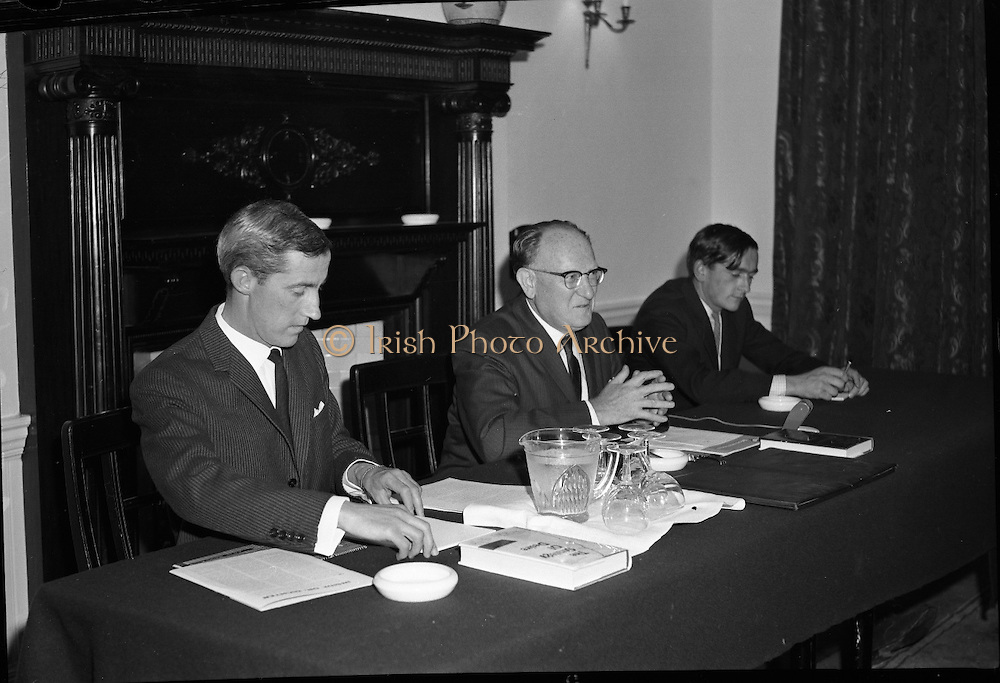 "Dr. Dichter Lecture at the Shelbourne Hotel..1961..02.10.1961..10.02.1961..2nd October 1961..Ernest Dichter is an Austrian-American psychologist and marketing expert known as the ""father of motivational research. He was invited by P Owen Ltd to give a lecture on his methods at the Shelbourne Hotel, Dublin...Image shows Dr Ernest Dichter (centre) delivering his lecture at the Shelbourne Hotel."
