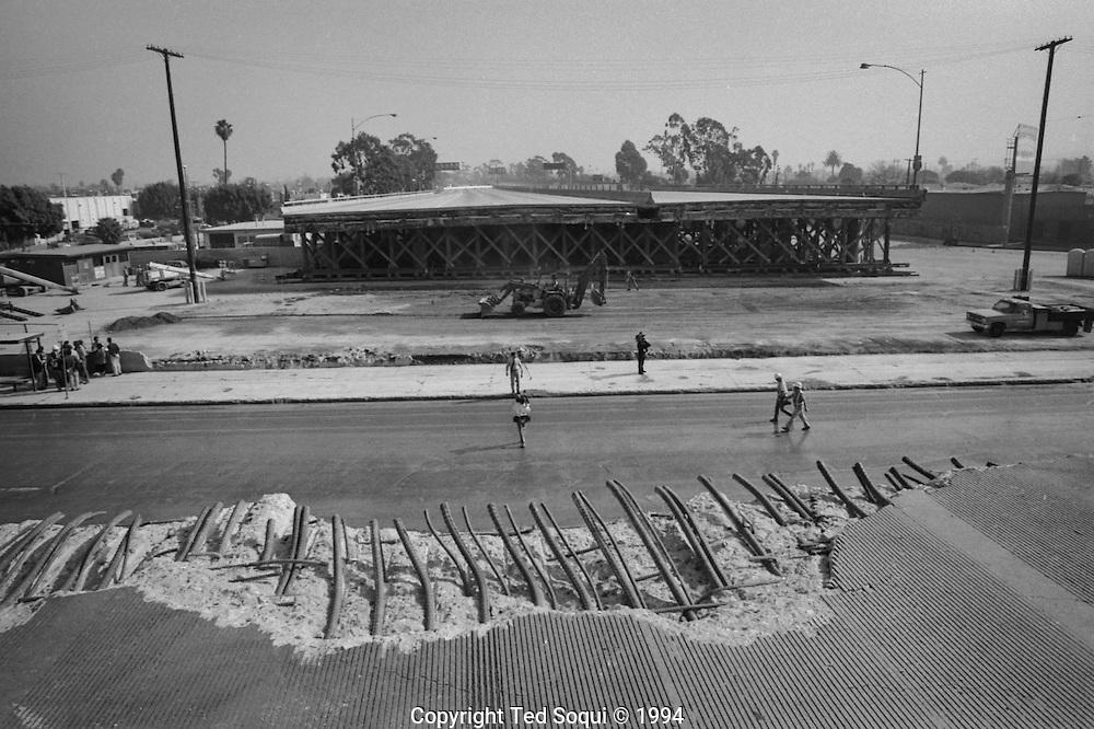 The I10 freeway undergoing repairs.<br /> Northridge earthquake.
