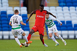 CARDIFF, WALES - Thursday, August 9, 2018: FC Midtjylland's Paul Onuachu during the UEFA Europa League Third Qualifying Round 1st Leg match between The New Saints FC and FC Midtjylland at Cardiff City Stadium. (Pic by David Rawcliffe/Propaganda)
