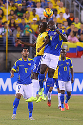 Sep 9, 2014; East Rutherford, NJ, USA; Brazil midfielder Ramires (8) and Ecuador midfielder Segundo Castillo (14) battle for the ball during the first half at MetLife Stadium.
