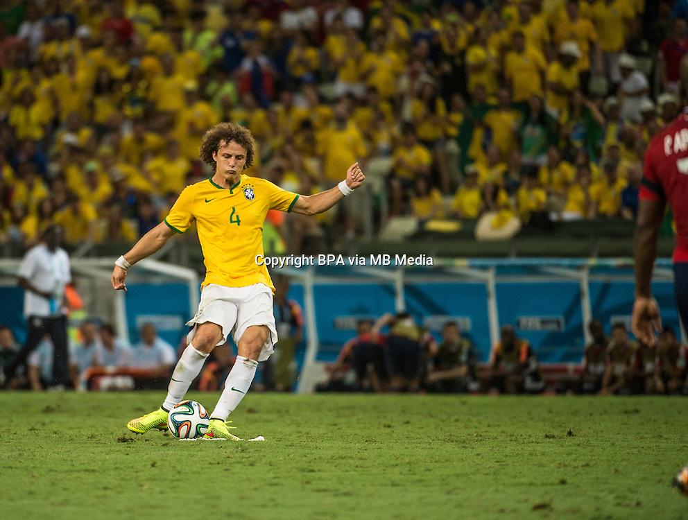David Luiz. Brazil v Colombia, quarter-final. FIFA World Cup Brazil 2014. Castelao stadium, Fortaleza. 4 July 2014.