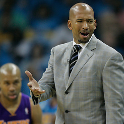 April 28, 2011; New Orleans, LA, USA; New Orleans Hornets head coach Monty Williams against the Los Angeles Lakers during the first quarter in game six of the first round of the 2011 NBA playoffs at the New Orleans Arena.    Mandatory Credit: Derick E. Hingle
