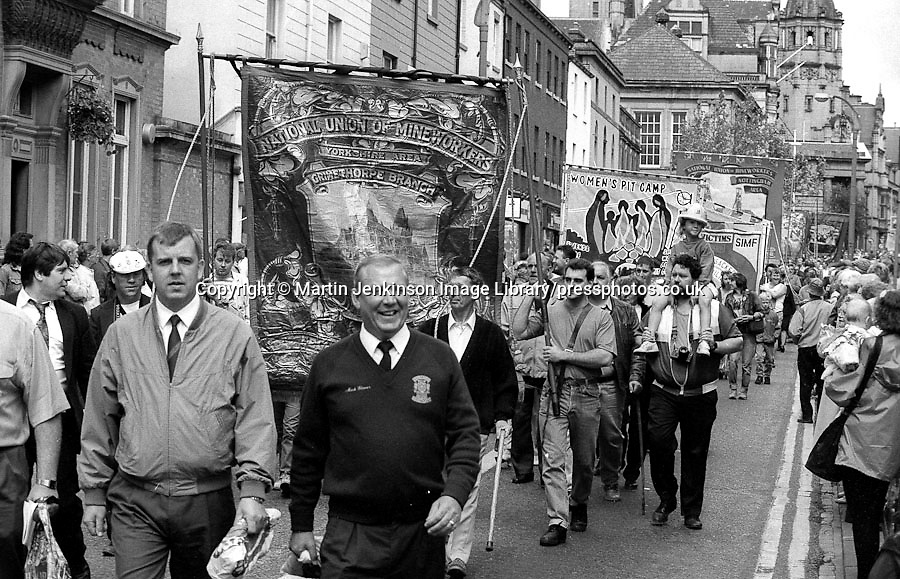 Grimethorpe Branch banner. 1993 Yorkshire Miner's Gala. Wakefield.