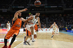 December 19, 2017 - Madrid, Madrid, Spain - Bojan Dubljevic (left), #14 of Valencia and Felipe Reyes, #9 of Real Madrid, pictured during the 2017/2018 Turkish Airlines EuroLeague Regular Season Round 13 game between Real Madrid and Valencia Basket at WiZink center in Madrid. (Credit Image: © Jorge Sanz/Pacific Press via ZUMA Wire)