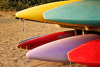Colourful kayaks at Strathcona Park Lodge, Vancouver Island BC