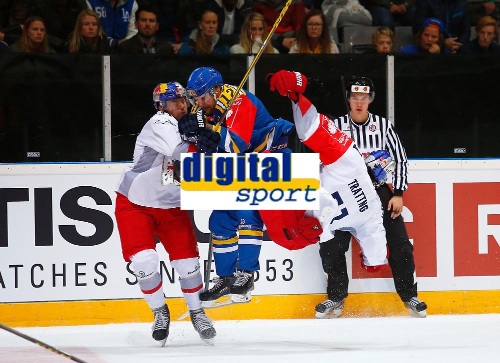 BILDET KAN KUN BRUKES I REDAKSJONELL SAMMENHENG<br /> <br /> BILDET INNGÅR IKEK I FASTAVTALER. ALL NEDLASTING BLIR FAKTURERT.<br /> <br /> Ishockey<br /> 06.10.2015<br /> Foto: Gepa/Digitalsport<br /> NORWAY ONLY<br /> <br /> HAMAR,NORWAY,06.OCT.15 - ICE HOCKEY - CHL, Champions Hockey League, play off, Storhamar Hockey vs EC Red Bull Salzburg. Image shows Ben Walter (EC RBS), Jacob Berglund (Storhamar) and Mathias Trattnig (EC RBS).