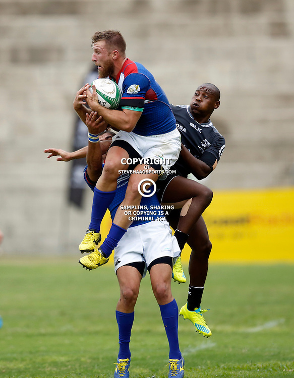 DURBAN, SOUTH AFRICA, 23, April 2016 - Johann Tromp of the Windhoek Draught Welwitschias out jumps Nkululeko Marwana of the Cell C Sharks XV during the  Currie Cup Qualifiers match between The Cell C Sharks XV vs Windhoek Draught Welwitschias,King Zwelithini Stadium, Umlazi, Durban, South Africa. Kevin Sawyer (Steve Haag Sports) images for social media must have consent from Steve Haag