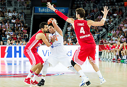 Arvin Slagter of Netherlands between Krunoslav Simon of Croatia and Ante Tomic of Croatia during basketball match between Netherlands and Croatia at Day 5 in Group C of FIBA Europe Eurobasket 2015, on September 9, 2015, in Arena Zagreb, Croatia. Photo by Vid Ponikvar / Sportida