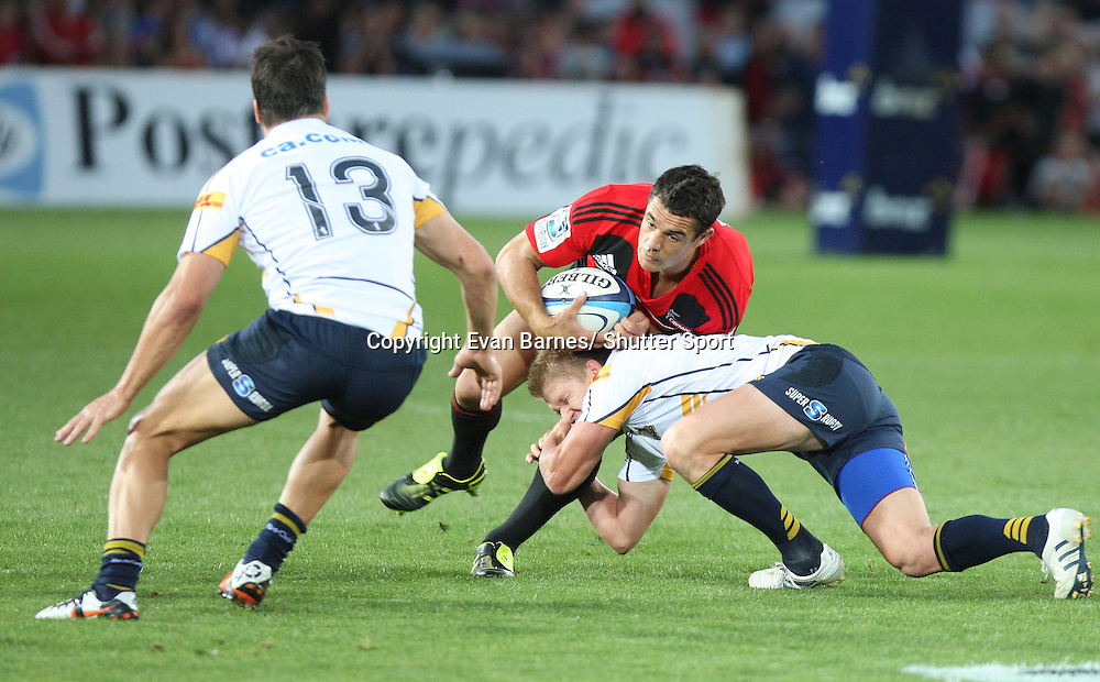Dan Carter in action, 11 March 2011, Trafalgar Park, Nelson, New Zealand. Photo: Evan Barnes /  Photosport.