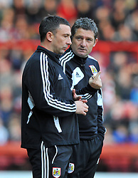 Bristol City Manager, Derek McInnes and  Bristol City assistant manager, Tony Docherty discuss tactics  - Photo mandatory by-line: Joe Meredith/JMP  - Tel: Mobile:07966 386802 17/11/2012 - Bristol City v Blackpool - SPORT - FOOTBALL - Championship -  Bristol  - Ashton Gate Stadium -