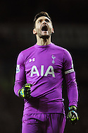 Hugo Lloris of Tottenham Hotspur celebrates his sides fourth goal of the game during the Barclays Premier League match between Tottenham Hotspur and Chelsea  at White Hart Lane, London<br /> Picture by Richard Blaxall/Focus Images Ltd +44 7853 364624<br /> 01/01/2015