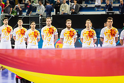Team Spain during futsal match between Ukraine and Spain in Quaterfinals of UEFA Futsal EURO 2018, on February 6, 2018 in Arena Stozice, Ljubljana, Slovenia. Photo by Ziga Zupan / Sportida