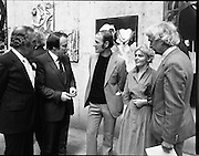 The G.P.A.awards for Emerging Artists..(Guinness Peat Aviation).1984..23.09.1984..09.23.1984..23rd September 1984..The award ceremony was held at The Royal Hibernian Academy of Arts,Gallagher Gallery,Ely Place,Dublin..Picture of Mr John Shinnors winner of the £5000 GPA award for Emerging Artists and his wife Catherine as he is congratulated by Mr Tony Ryan,GPA, Mr Ted Nealon TD,Minister for Arts and Culture and Mr Noel Sheridan,Chairman of the Advisory Panel of Judges, on his success.