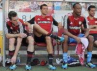 FUSSBALL   1. BUNDESLIGA  SAISON 2011/2012   3. Spieltag     20.08.2011 VfB Stuttgart - Bayer Leverkusen        Hanno Balitsch (Bayer 04 Leverkusen,li), Michael Ballack (Bayer 04 Leverkusen, Mitte) und David Yelldell (Bayer 04 Leverkusen, re) auf der Bank