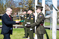 15/03/2016 Capt Damien Kelleher from Renmore Army Barracks recieving the Tricolour from Dr. Fergal Barry President GMIT at the GMIT on Proclamation day. Photo:Andrew Downes, xposure.