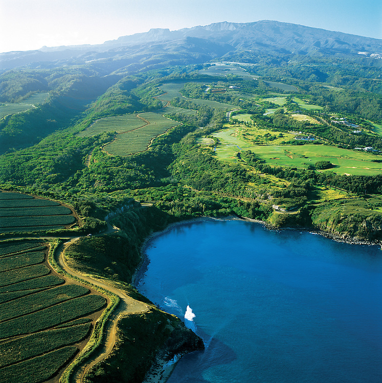 Hawaii, Maui, The Valley Island, Honolua, Pine Fields, West Maui, Aerial of Bay and West Maui Mountains