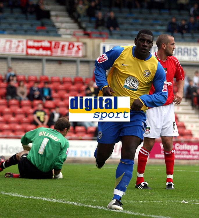 Photo: Mark Stephenson.<br /> Wrexham v Hereford United. Coca Cola League 2. 01/09/2007.Hereford's Trever Benjamin celebrates his goal for 2-0