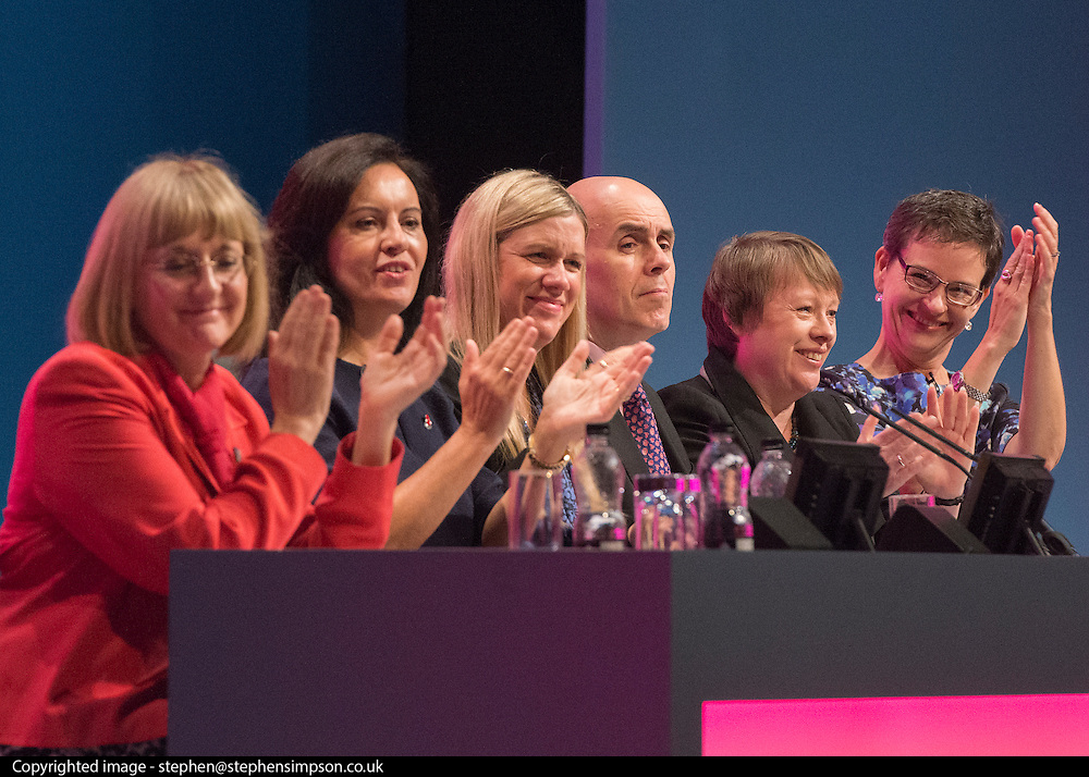 © Licensed to London News Pictures. 23/09/2014. Manchester, UK. Diana Holland, Caroline Flint, Ellie Reeves, Greg Cook, Maria Eagle, Mary Creagh. Labour Party Conference 2014 at the Manchester Convention Centre today 23 September 2014. Photo credit : Stephen Simpson/LNP