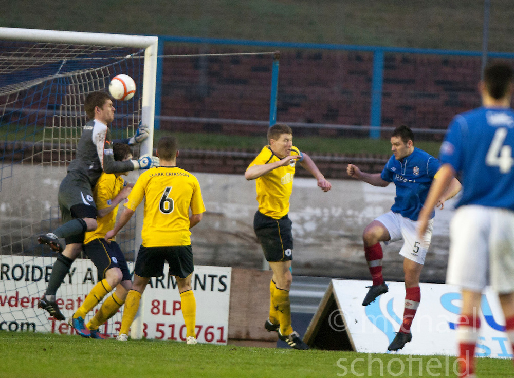 Cowdenbeath's John Armstrong scoring their third goal..Cowdenbeath 4 v 1 Falkirk, 9/2/2013..©Michael Schofield.