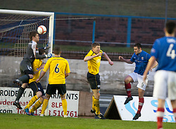 Cowdenbeath's John Armstrong scoring their third goal..Cowdenbeath 4 v 1 Falkirk, 9/2/2013..©Michael Schofield.