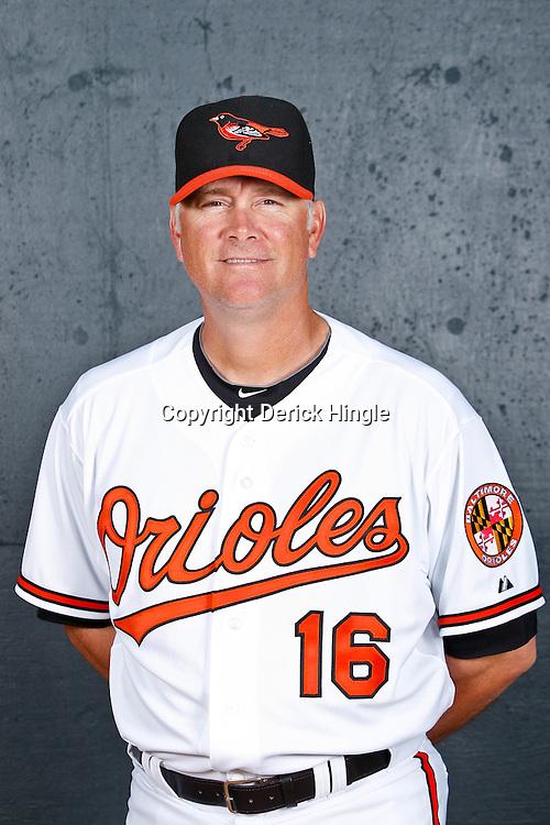 February 26, 2011; Sarasota, FL, USA; Baltimore Orioles coach Jim Presley (16) poses during photo day at Ed Smith Stadium.  Mandatory Credit: Derick E. Hingle