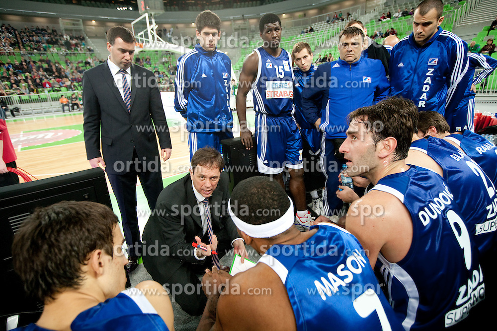 Coach of Zadar Danijel Jusup, his assistant Ivan Barancic and their players during basketball match between KK Union Olimpija and Zadar in 15th round of NLB league in Arena Stozice on January 8, 2010 in SRC Stozice, Ljubljana, Slovenia. (Photo by Vid Ponikvar / Sportida)