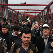 The Occupy Brooklyn March over the Williamsburg Bridge, New York, USA. 1st May 2012. Photo Tim Clayton